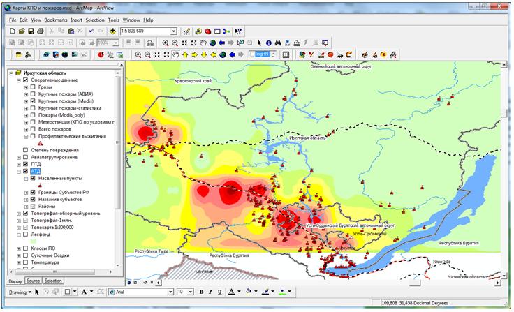 Региональная информационная система противопожарного обустройства лесов на примере Иркутской области