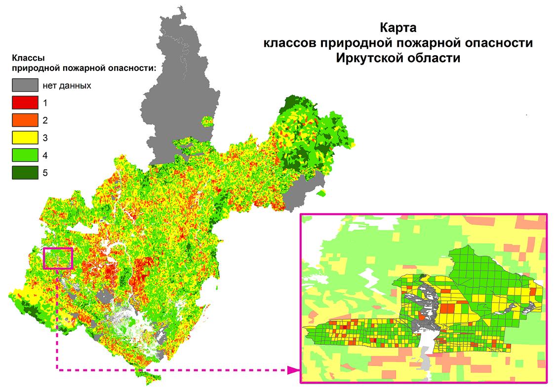 Актуализация карт классов природной пожарной опасности лесной территории