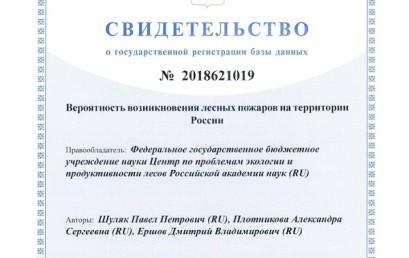 БД «Вероятность возникновения лесных пожаров на территории России»