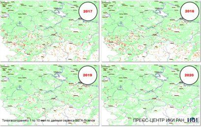 Сокращение числа лесных пожаров: результаты спутникового мониторинга ИКИ РАН